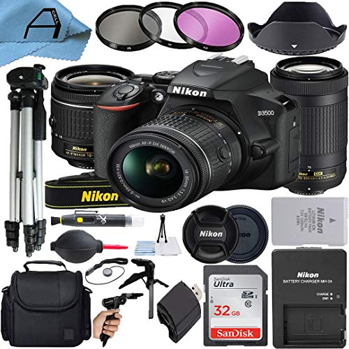 Nikon D3500 DSLR Camera 24.2MP with NIKKOR 18-55mm VR and 70-300mm Dual Lens, SanDisk 32GB Memory...