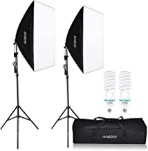 Andoer 1350W Photography Continuous Lighting Kit, 50x70cm Professional Studio Softbox with 2pcs 5500K Bulbs 200cm Light Stand Carrying Bag for Photo Shoot