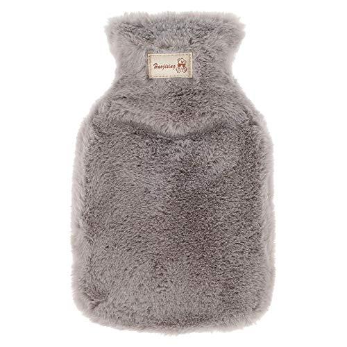 Botella de agua caliente para invierno con una funda gris de caucho natural puro, cómoda piel sintética de felpa esponjosa, para espalda, cuello, cintura, manos, colchón
