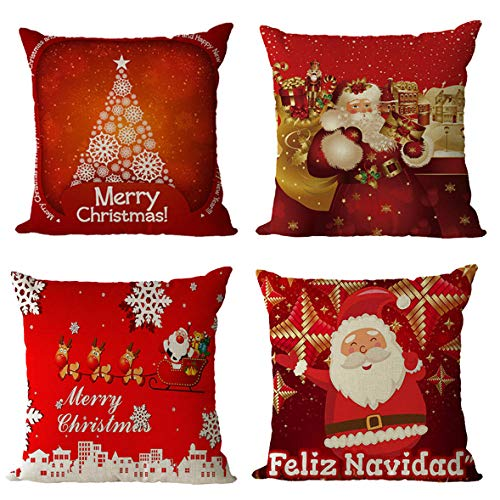 GenericBrands Cushion Covers Christmas offer Square Cute Throw Pillow Covers Pillowcases Decorative for Couch Living Room Sofa Bed with Invisible Zipper 18x18 Inches Set of 4