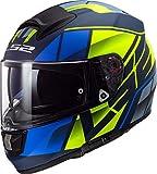 LS2 NC Casco per Moto, Hombre, Negro/Azul/Amarillo, M