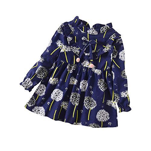 YWLINK MäDchen RüSchen Lange ÄRmel Süß LöWenzahn Blume Drucken Kleidung OutfitsMode Freizeit Urlaub Kleidung (Marine,3XL)