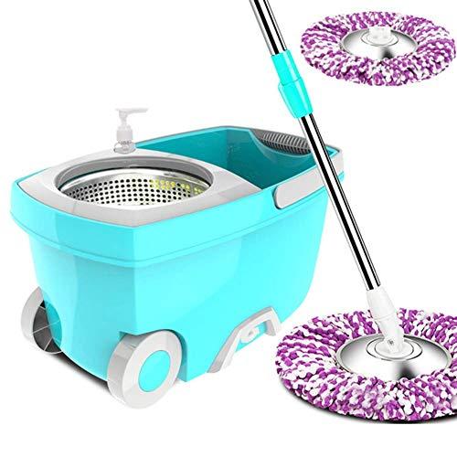 CHENJIA Girar Cubeta de Acero Inoxidable 360 °Spinning Cubeta de Suelo Sistema de Limpieza con Microfibra 2 sustitución de la Cabeza de la manija ampliada for la Limpieza del hogar