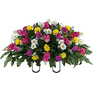 Sympathy Silks Artificial Cemetery Flowers – Realistic Wildflower Outdoor Grave Decorations – Pink Yellow Wildflower Saddle for Headstone