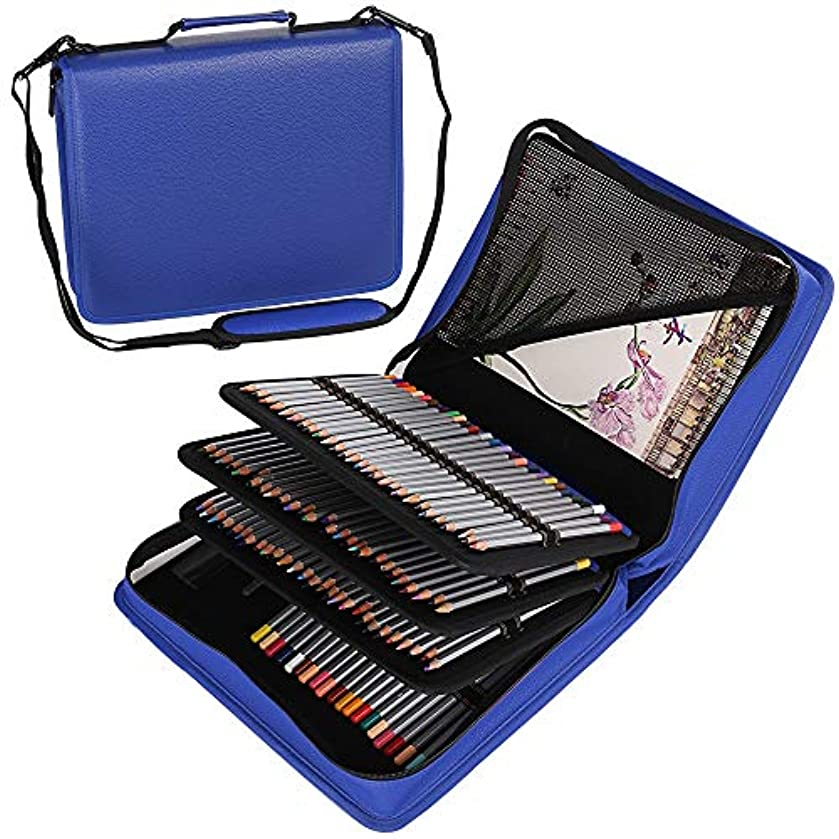 Shulaner 180 Slots PU Leather Colored Pencil Case Organizer Large Capacity Carrying Bag for Prismacolor Watercolor Pencils, Crayola Colored Pencils, Marco Pens, Gel Pens (Blue, 180)