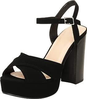 Women's Retro 70s Open Toe Crisscross Chunky Platform Block Heel Sandal