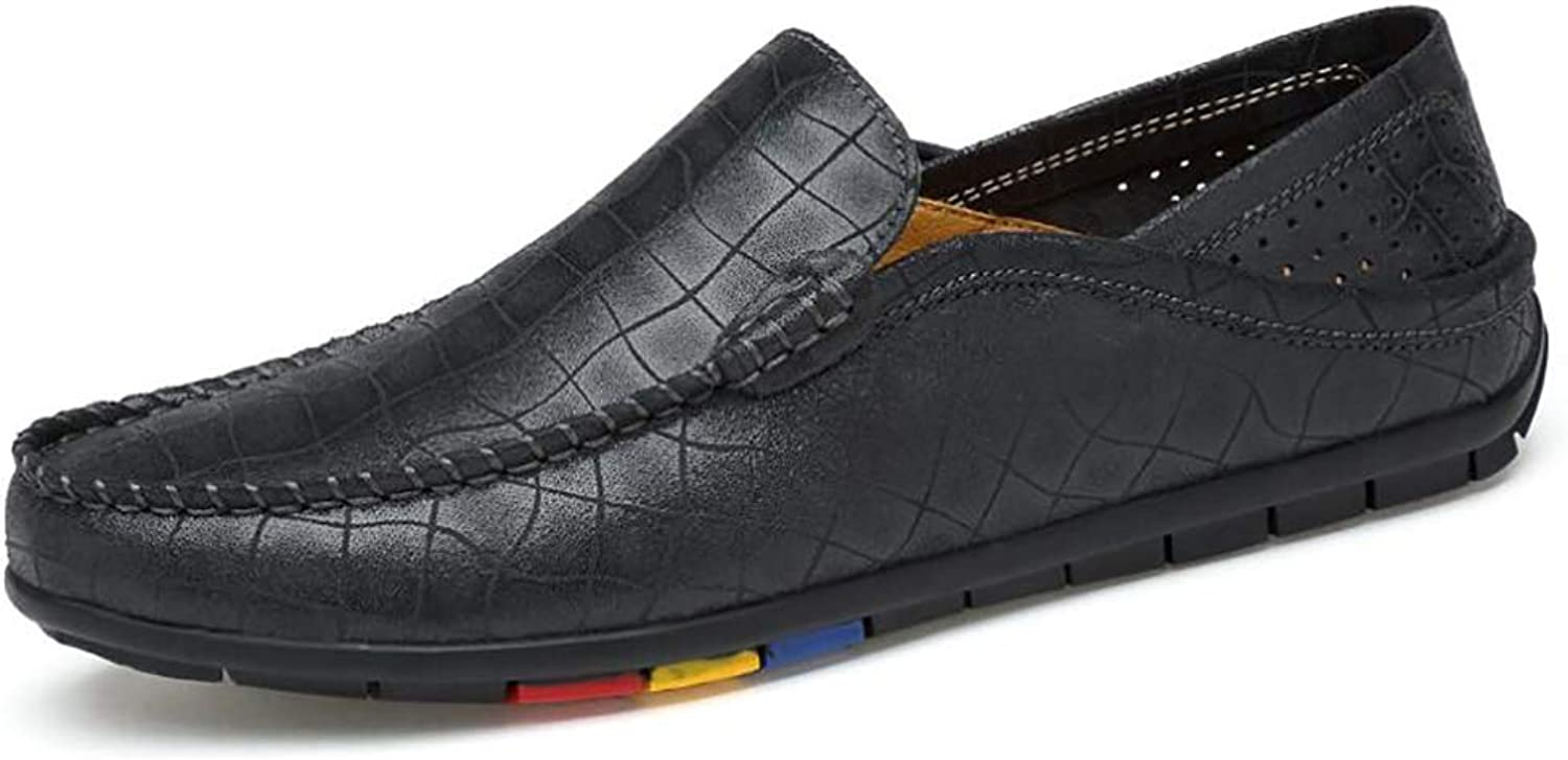 Men's shoes, Spring Fall Leather New Loafers & Slip-Ons,Driving shoes,Comfortable Shallow Mouth shoes,Flat shoes Single shoes (color   B, Size   44)