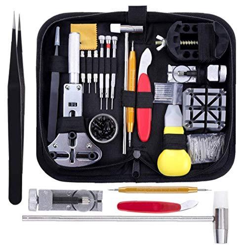 Reemplazo de la reparación del reloj del sistema de herramienta del kit Negro Profesional barra del resorte de acoplamiento de la venda del Pin de la batería con el maletín de transporte 151PCS