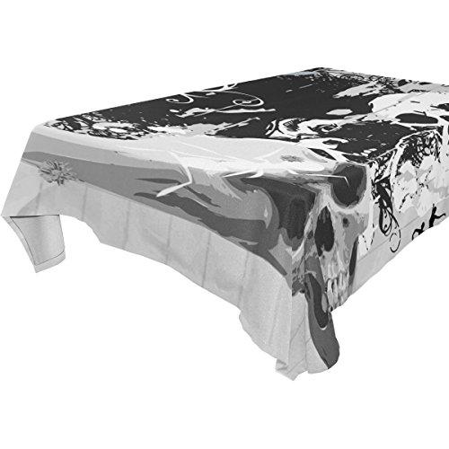 COOSUN rechteckig, Schwarz, Weiß und Totenkopf Tischdecke für Hochzeit Urlaub, waschbar Polyester Tischdecke, 54x 54cm, Polyester, mehrfarbig, 60x120(in)