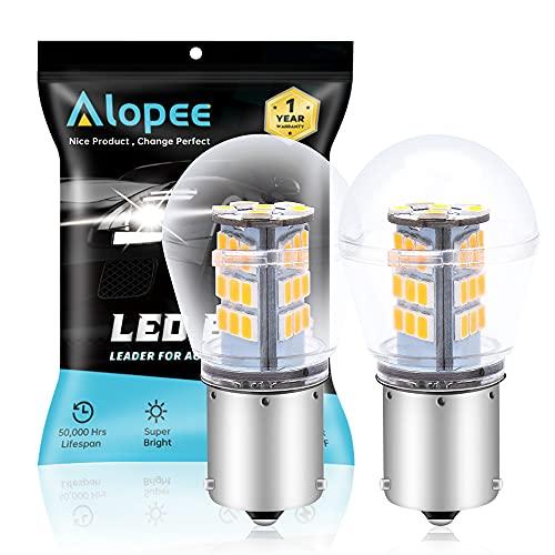 ALOPEE (Confezione Da 2) Lampadina Per Indicatori Di Direzione a LED Giallo Brillante 9-30 V Cc 33 Pezzi 2835 Chipset Di Ricambio Per Presa: 1056 BAU15S 7507 12496 5009 PY21W RY10W.