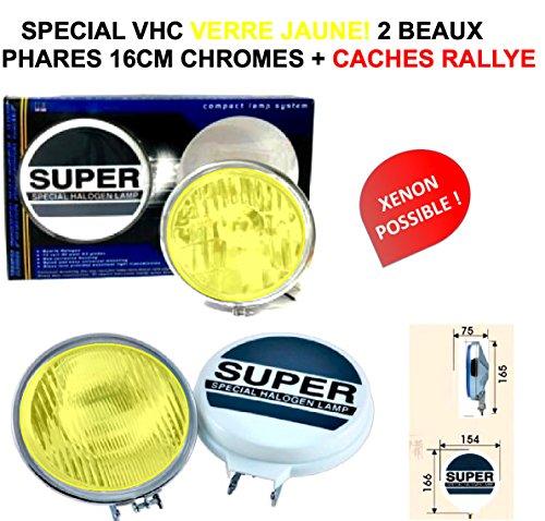 LCM2014 Look Vintage VHC! 2 PHARES Longues PORTEES 16CM Ultra-Fins avec CACHES Rallye Inclus ! Bol Chrome Verre Jaune! Xenon Possible! Raid Preparation 4X4 ! Hella Oscar LIGHTFORCE CIBIE KCLITE