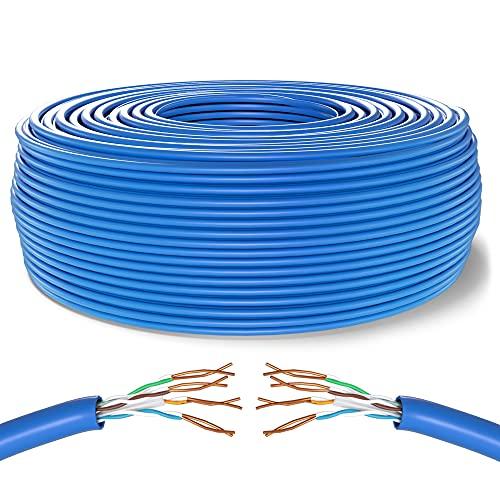 Mr. Tronic 50m Bobina Cavo di Rete Ethernet | CAT6, CCA, UTP, RJ45, AWG24, ADSL | Reti LAN Gigabit Alta velocità | Connessione Internet | Ideale per PC, Router, Modem, Switch, TV (50 Metri, Blu)