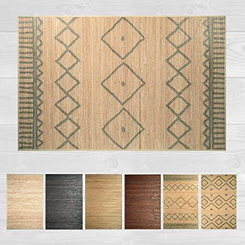 LucaHome – Alfombra bambú Uganda Ideal para Interior o Exterior, Alfombra bambú para Cocina, salón, despacho, Dormitorio con Cenefa, Alfombra de bambú Antideslizante (Rombos, 160x230cm)