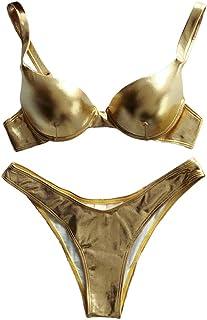 JAGETRADE Women Sexy Bikini Reflective Shiny Metallic Swimsuit Push Up Underwire Beachwear