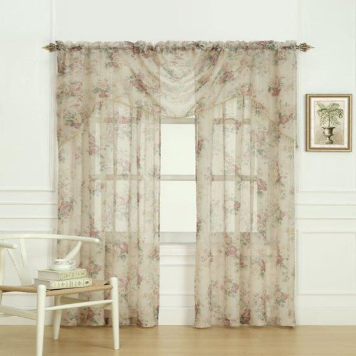Laura Ashley Stowe - Válvula de Tratamiento para Ventana de Cascada, Multicolor, 36 by 45""