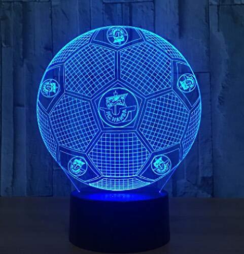 Lámpara 3D Sensor táctil Luz de noche de fútbol para fanáticos de los deportes de fútbol Mejor regalo Lámpara de cambio de 7 colores Lámparas de club de pelota redonda-Bola 2_Cambio de 7 colores