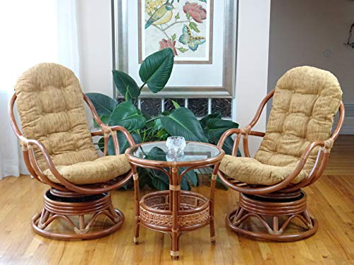 Natural Rattan Wicker Set of 2 Lounge Swivel Rocking Bali Chairs with Light Brown Cushion and Pelangi Round Coffee Table, Cognac