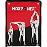 MAXPOWER Locking Pliers Set, 3 Pieces Kitbag set. 6-Inch Long Nose Locking Pliers, 10-Inch Wide Open Locking Pliers and 7-Inch Offset Locking Pliers
