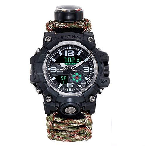 xiaoxioaguo Reloj deportivo militar para hombre, brújula de aventura, supervivencia, esencial, 50 m, impermeable, digital, de cuarzo, correa de nailon para hombre