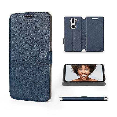 Mobiwear | Echt Lederhülle | Kompatibel mit Nokia 8 Sirocco, Made in EU handyhülle, Slim Leather Hülle, Premium Flip Schutzhülle, Transparent TPU Silicon, Book Style, Tasche - Blaues Leder