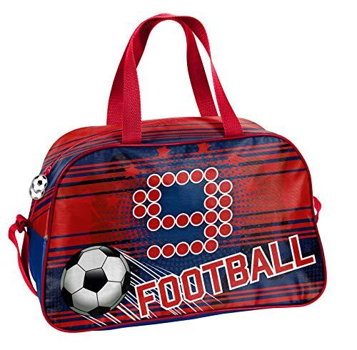 Ragusa-Trade Fussball - Soccer Sporttasche Reisetasche mit tollem Fussmallmotiv (19FT) für Jungen und Mädchen, blau/rot, 40 x 25 x 13 cm