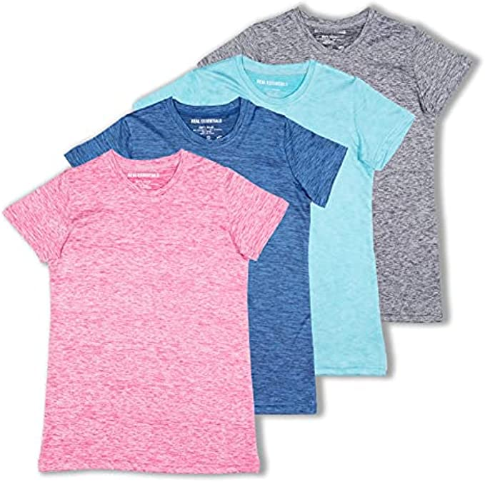 4 Pack: Girls Short Sleeve Dry-Fit Crew Neck Active Athletic Performance T-Shirt