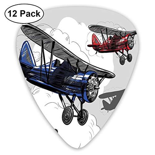 Gitaar Picks12 stks Plectrum (0,46 mm-0,96 mm), Retro vliegtuig Poster Geïnspireerd Bon Voyage laat reizen vliegen, voor uw gitaar of Ukulele