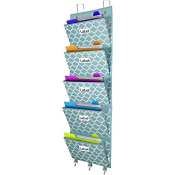 Over The Door File Organizer, Hanging Wall Mounted Storage Holder Pocket Chart for Magazine, Notebooks, Planners, Mails, 5 Extra Large Pockets(Blue withLantern Pattern)