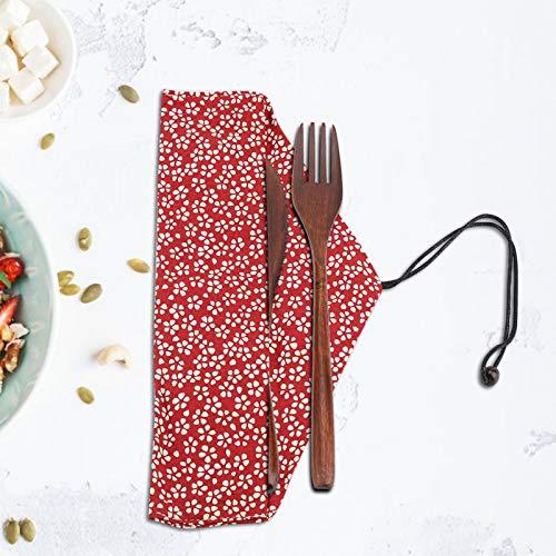 Incluye Cuchillo/Tenedor/Cuchara Utensilios Reutilizables no tóxicos Kit de vajilla ecológica de(Burgundy Sakura Cutlery Bag)