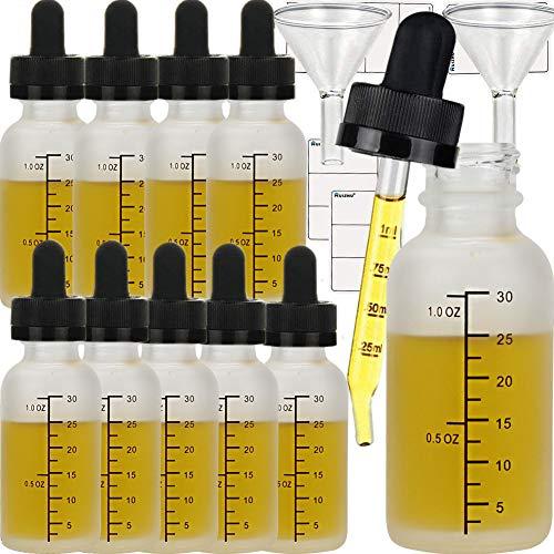 Lot de 12 flacons compte-gouttes rechargeables en verre dépoli blanc de 30 ml avec pipettes compte-gouttes pour huiles essentielles, mélanges d'aromathérapie, etc. (blanc, 30 ml x 12 pièces)