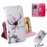 Dmtrab Phone Case for Huawei Nova 4 Portefeuille de portefeuille, motif de fleurs de magnolia dessin...