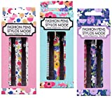 Set of 9 Fun Colorful Cute Elegant Black Ink Pens for Any Occasion...