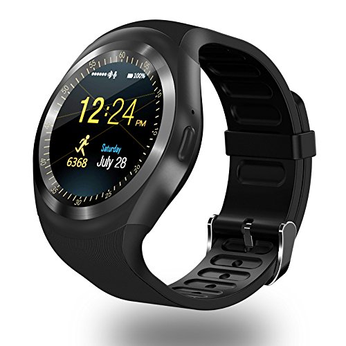 ZOMTOP Y1 Bluetooth SmartWatch - HD IPS Round Touch Screen Cell Phone Watch with SIM TF Card Slot SmartWatch Pedometer Sleep Monitor Remote for Android (Black)