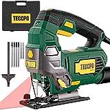 Seghetto Alternativo 800W, TECCPO 0-3000SPM Seghe con Guida Laser, 6 Velocità Regolabili, Angolo di Taglio Inclinato da ±45°, 6 Lame, Valigetta, Cavo da 2m, Adatto a metallo e legno -TAJS01P