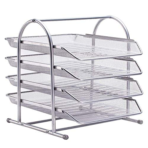 LUNAH Newspaper rack Newspaper, desktop file manager storage rack, iron net four-layer file tray A4 file holder pull-out information rack, office supplies, black/silver