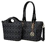 MKF Tote Shoulder Bag, Satchel Handbag for Women Set PU Leather Top Handle Purse, Gold-Tone Hardware Black