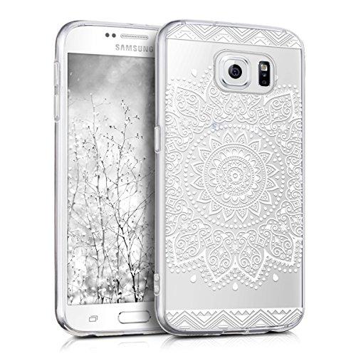 kwmobile Hülle kompatibel mit Samsung Galaxy S6 / S6 Duos - Handyhülle - Handy Case Blume Weiß Transparent