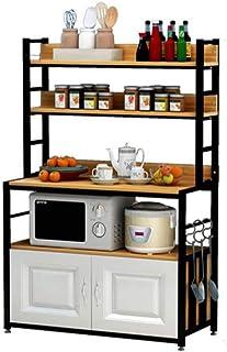 KOKOF Étagère de rangement de cuisine multi-couche multi-couche avec porte four micro-ondes et four à vaisselle Noir 2-80