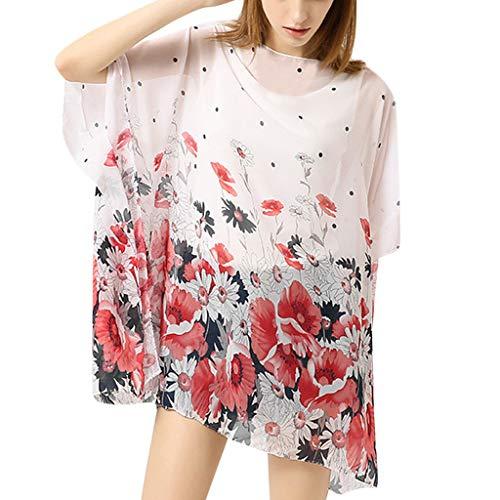 Pareos Schal Womens Floral Pattern Casual Style zum Schwimmen Sommer tragen(Weiß,Free)