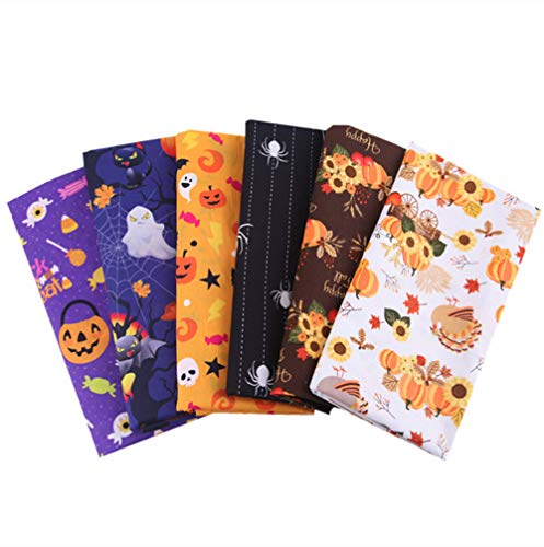 Halloween Theme Cotton Fabric Square Sheets,Pumpkins, Ghosts and Spider Print Fat Quarters Quilting Fabric Bundle for Craft Patchwork Sewing,7 Packs 20'' x 20''