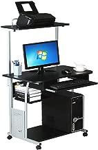 Black Rolling Computer Desk Workstation Study Writing PC Laptop Table Top Printer Shelf Work Table Desk(U.S. Stock)