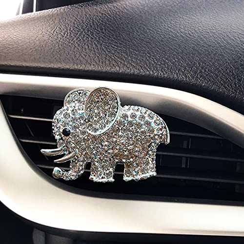 LHEVEN Auto Diamond Elephant Car Air Conditioning Outlet Clip Decorative Car Air Vent Clip Charm, Bling Car Accessories, Car Interior Decoration Charm, Cute Car Decor (Silver)