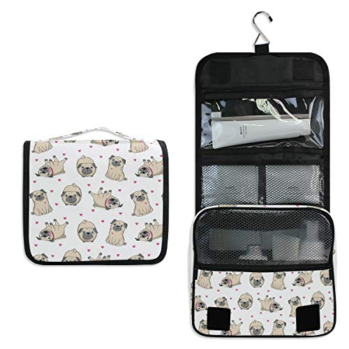 Kulturtasche mit süßem Hunde-Mops-Muster, multifunktional, Kosmetiktasche, Reisetasche, Make-up-Tasche, Aufbewahrungstasche, tragbare Kulturtasche für Frauen und Mädchen