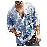 Camisa de Manga Corta para Hombre 2021 Camisas Informales de Lino para Verano Camisa Suelta de Ocio de Color Sólido Casual Moda Tops