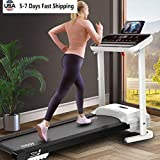 UMOG 4-in-1 Folding Treadmill,1.0HP Electric Treadmill w/Bluetooth Speaker & LCD Monitor & Tablet Holder, Exercise Fitness Machine Home Gym Workout Fitness Running Machine MAX 286LB (White)