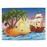 CVSANALA Rompecabezas con Imágenes 500 Piezas,Barco Pirata,Barco Fantasma en un mar exótico Cerca de la Isla del Tesoro con Palmeras y Cofre Abierto,Juego Familiar Arte de Pared Regalo,20.4' x 15'