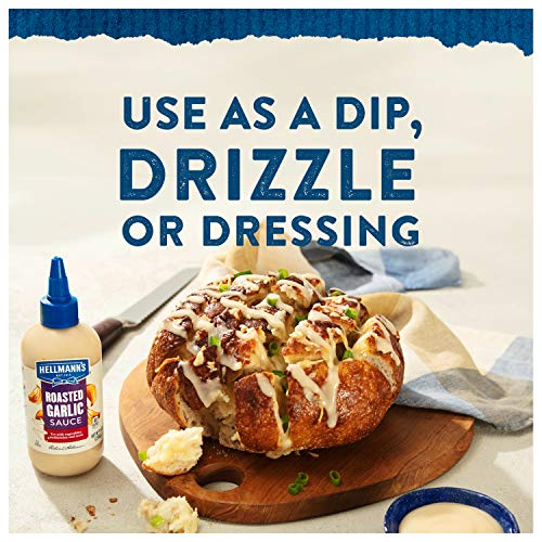 Hellmann's Sauce For A Delicious Condiment, Dip and Dressing Roasted Garlic Gluten Free, Dairy Free, No Artificial Flavors, No High-Fructose Corn Syrup 9 oz (10048001011851)
