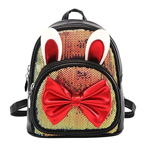 Hniunew Daypack Kinder Pailletten Rucksack Sequin Hasenohren Reflektierender klein Schultertasche Kinderrucksäcke Tagesrucksack Schulrucksack für Frauen Mädchen Coole Schule Reise