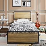 ADORNEVE Metallbett Bettrahmen 90x200cm Einzelbett mit Kopfteil und Lattenrost, geeignet für Räume für Kinder und Jugendliche, Schwarz Stahlrahmen - 2