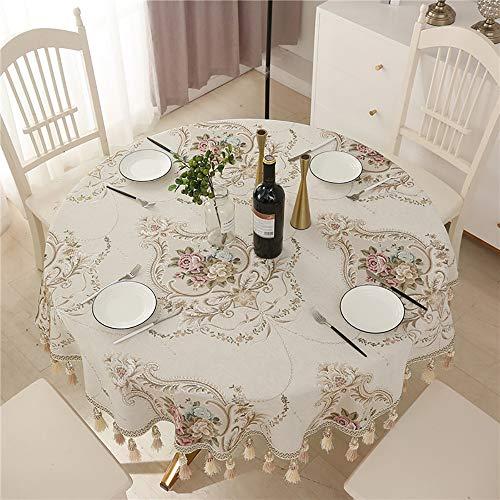 Lunana tafelkleed, rond, van stof, wasbaar, robuust, watermelder, tuin, decoratie voor eettafel, picknick, party, tuin, wasbaar, onderhoudsarm, 280 cm